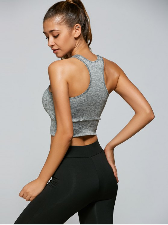 Mesh Panel Sports Tank Top - GRAY S Mobile