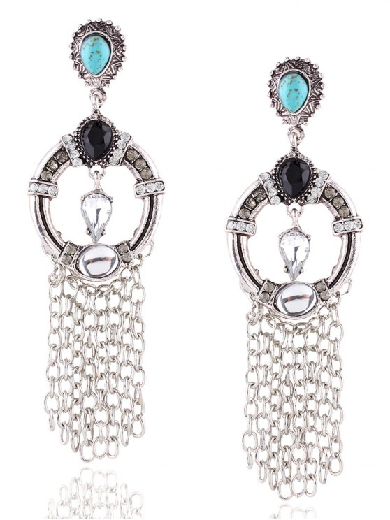 trendy Layered Faux Turquoise Rhinestone Circle Earrings - SILVER