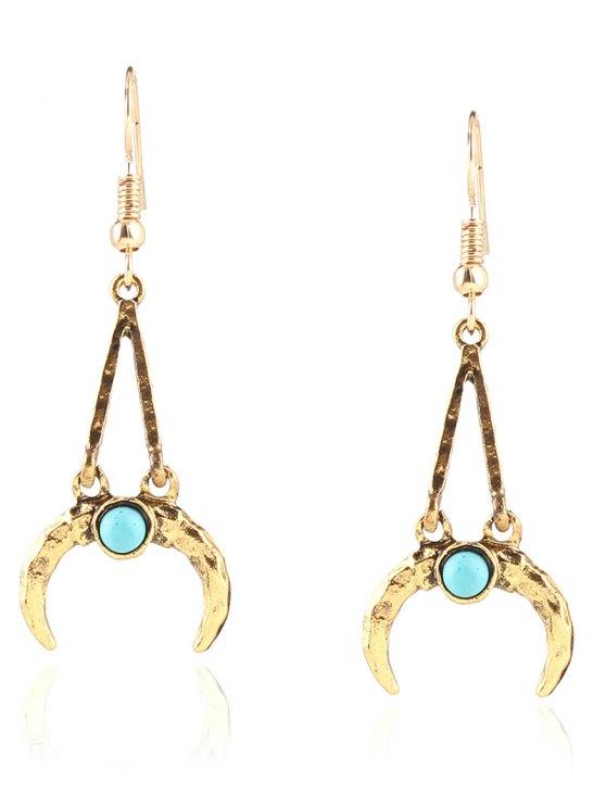 Bohemian Faux Turquoise Alloy Moon Earrings - Dorado