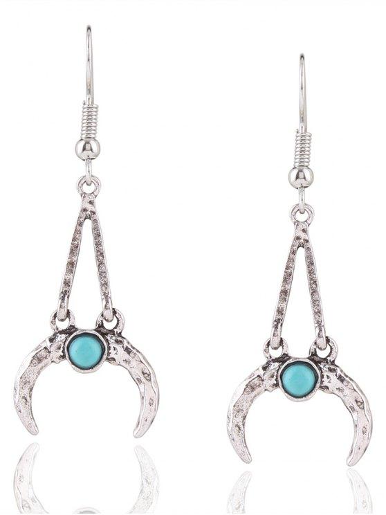 Bohemian Faux Turquoise Alloy Moon Earrings - Plata