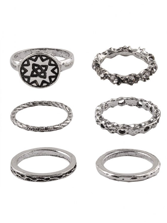 sale Rhinestone Engraved Geometric Circle Alloy Rings - SILVER ONE-SIZE