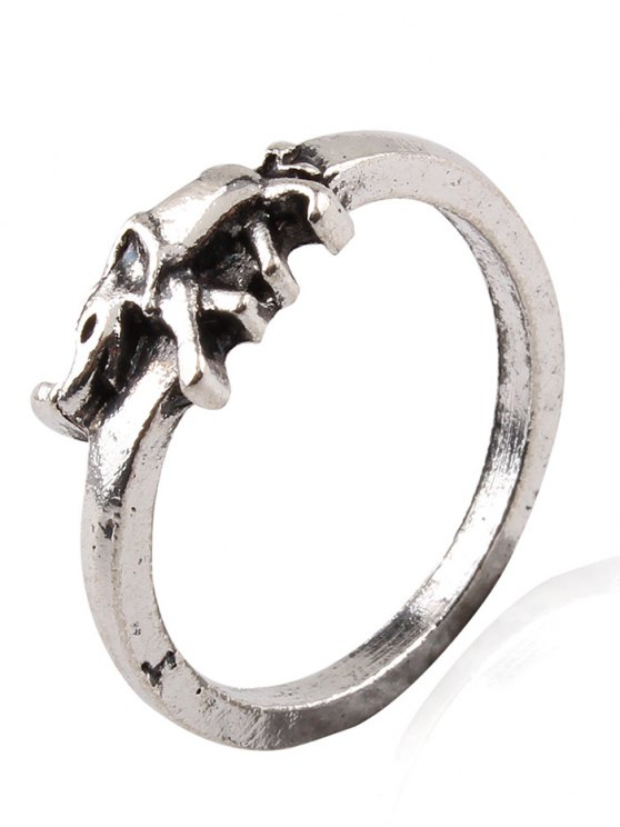 Elephant Crucifix Flower Water Drop Rings - SILVER ONE-SIZE Mobile