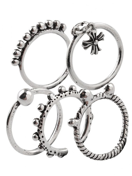 Vintage Alloy Beads Crucifix Cuff Rings - SILVER ONE-SIZE Mobile
