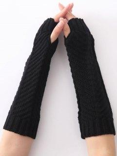 Christmas Winter Fishbone Crochet Knit Arm Warmers - Black
