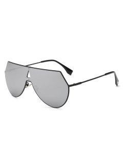 Hollow Triangle Shield Mirror Sunglasses - Silver