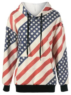 Flag Drawstring Distressed Hoodie - Red And White And Blue L