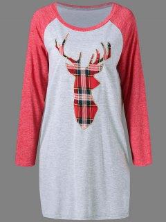 Plaid Elk Pattern Raglan Sleeves Dress - Gray And Red M