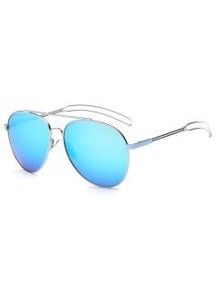 Crossbar Hollow Out Leg Pilot Mirror Sunglasses - Ice Blue