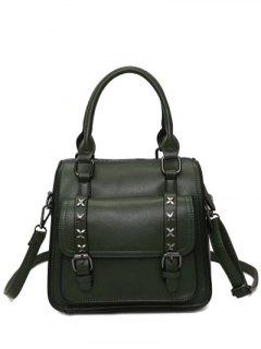 Criss-Cross Double Buckles PU Leather Handbag - Blackish Green