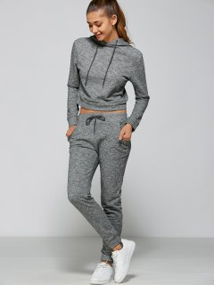 Marled Cropped Hooded And Pants - Gray M