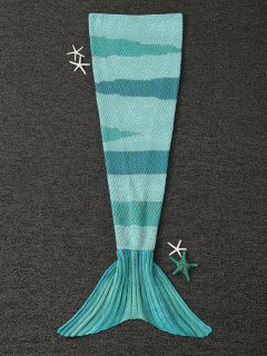 Knitted Wrap Kids Mermaid Tail Blanket - Light Green