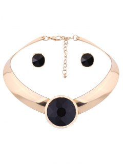 Round Fake Gem Mottle Choker And Earrings - Black