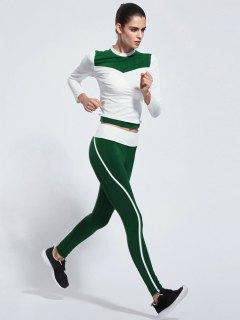 Color Block Skinny Yoga T-Shirt + Pants - Green S
