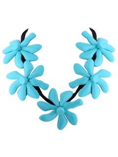 Flower Resin Embellished Necklace - Blue