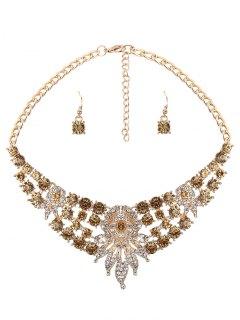 Rhinestone Leaves Flower Jewelry Set - Yellow