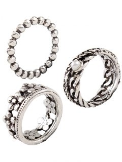Vintage Faux Pearl Flower Circle Rings - Silver One-size