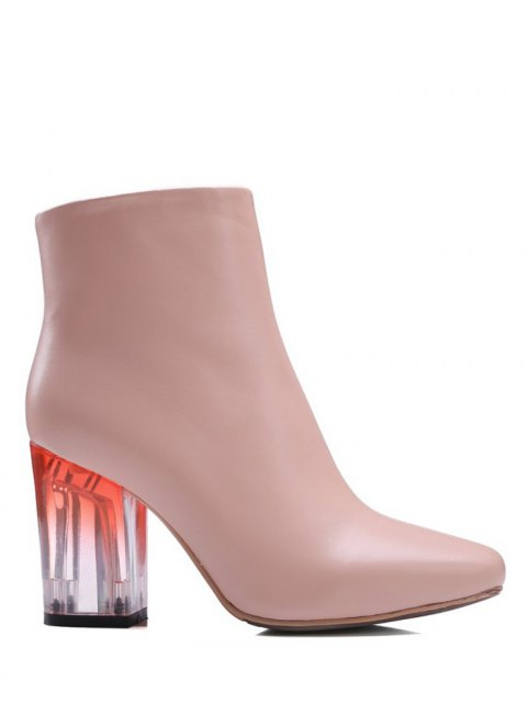affordable Clear Heel Zipper Square Toe Ankle Boots - PINK 37 Mobile