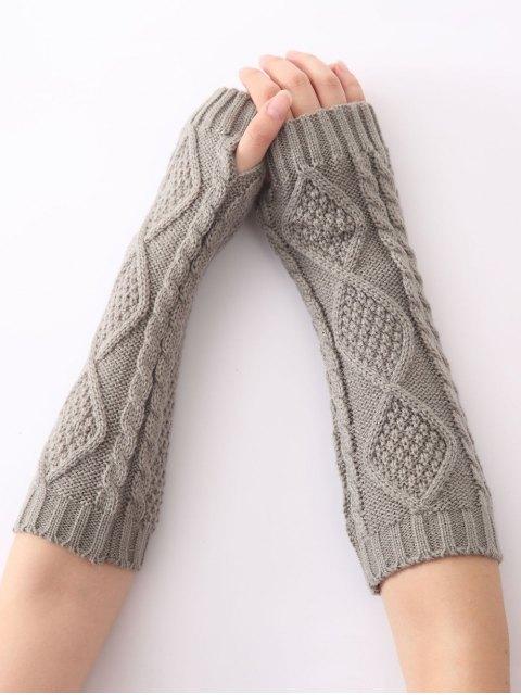 unique Christmas Winter Diamond Hollow Out Crochet Knit Arm Warmers - LIGHT GRAY  Mobile