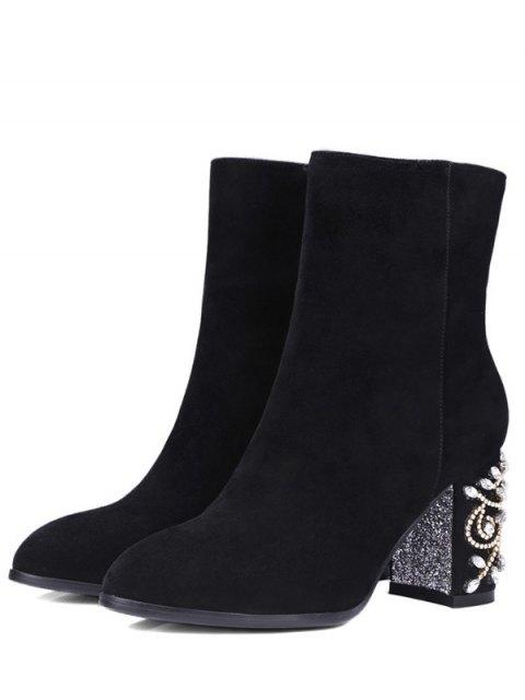 women Rhinestones Chunky Heel Zipper Ankle Boots - BLACK 37 Mobile
