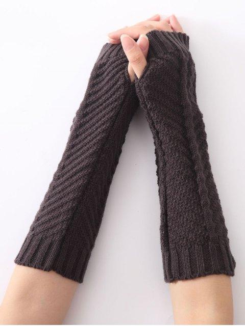womens Christmas Winter Fishbone Crochet Knit Arm Warmers - DEEP GRAY  Mobile