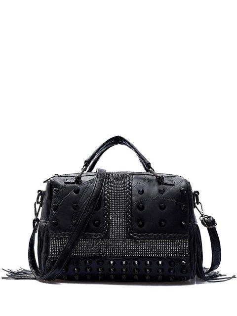 fashion Stitching Fringe Rivet Handbag - BLACK  Mobile
