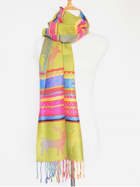 fashion Christmas Deer Pattern Colorful Tassel Scarf -   Mobile