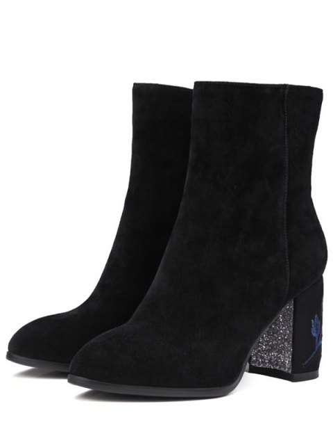 online Flower Pattern Embroidery Sequins Ankle Boots - BLACK 39 Mobile