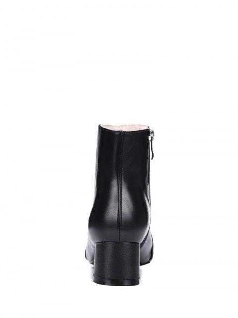 shops Metal Toe Splicing Zipper Ankle Boots - BLACK 39 Mobile