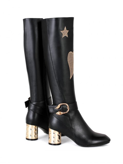 unique Heart Pattern Embroidery Buckle Knee-High Boots - BLACK 39 Mobile