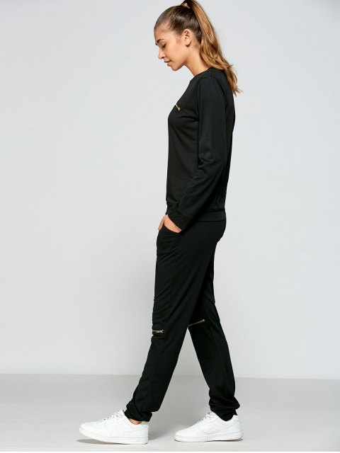 outfit Zippered Sweatshirt and Pants - BLACK XL Mobile