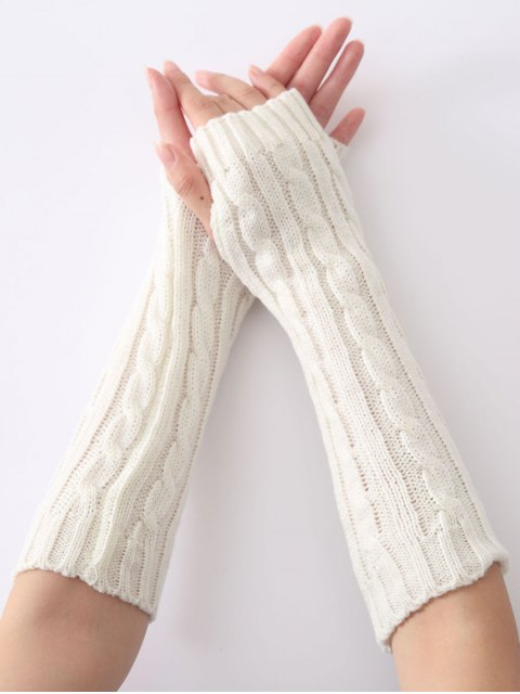 latest Hemp Decorative Pattern Christmas Keep Warm Crochet Knit Arm Warmers - WHITE  Mobile