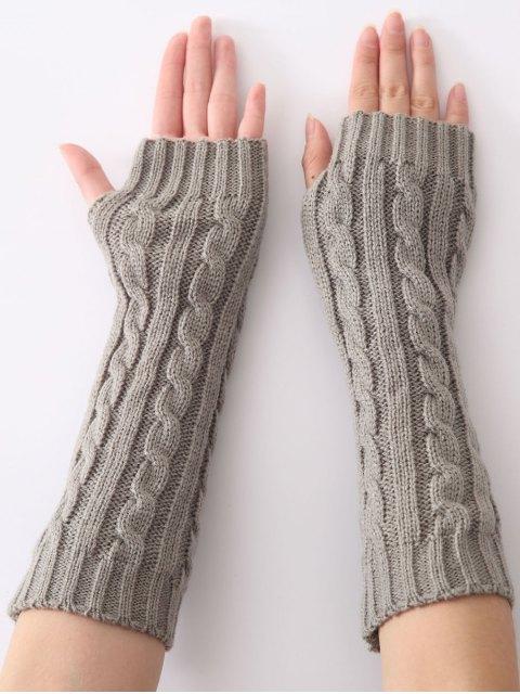 trendy Hemp Decorative Pattern Christmas Keep Warm Crochet Knit Arm Warmers - LIGHT GRAY  Mobile