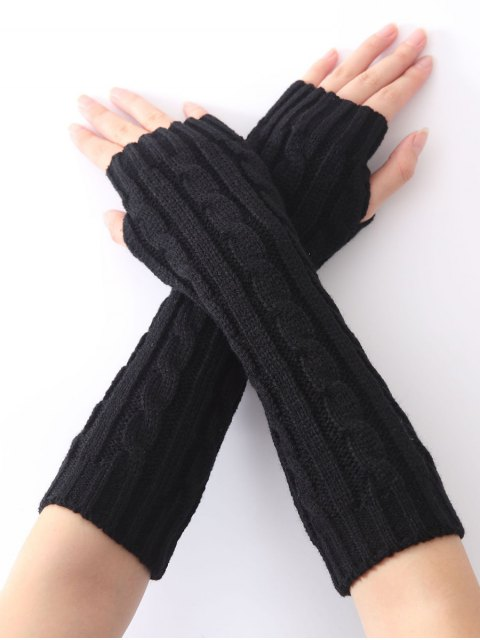 shops Hemp Decorative Pattern Christmas Keep Warm Crochet Knit Arm Warmers - BLACK  Mobile
