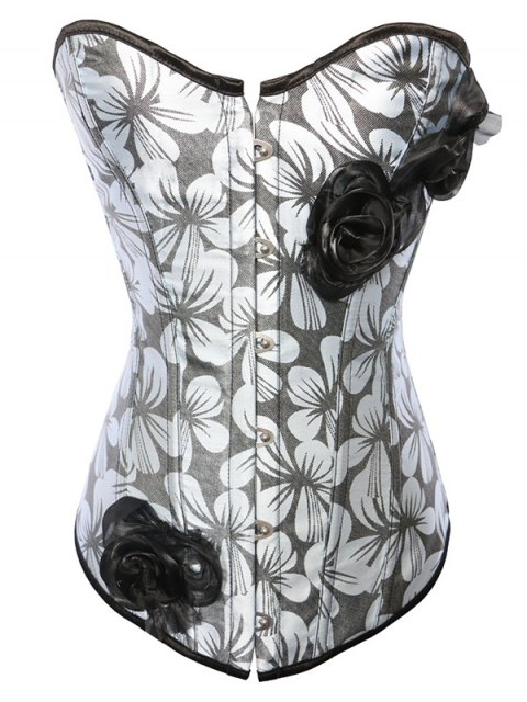 fashion Rose Ribbon Printed Lace Up Corset - BLUE GRAY 2XL Mobile