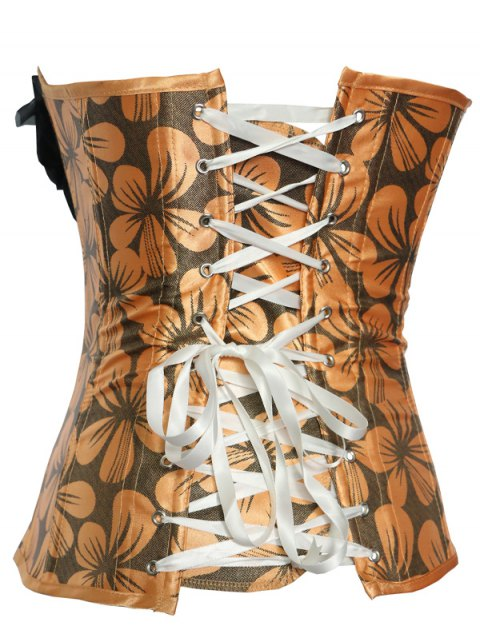 affordable Rose Ribbon Printed Lace Up Corset - PASTER ORANGE 2XL Mobile