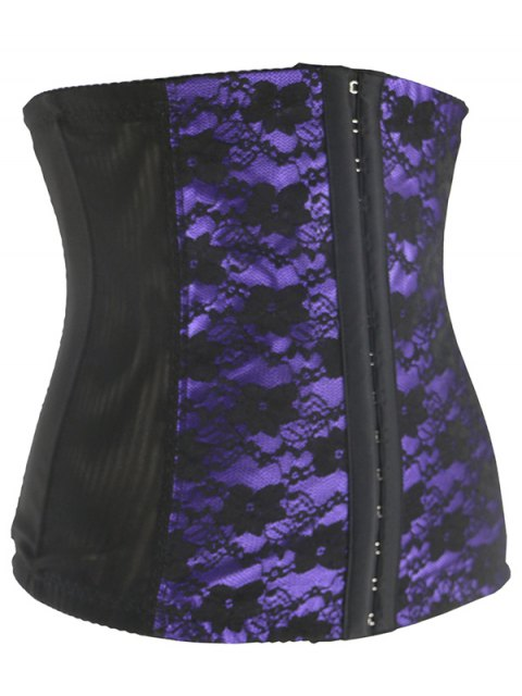 women Retro Steal Boned Underbust Lace Corset - PURPLE 5XL Mobile