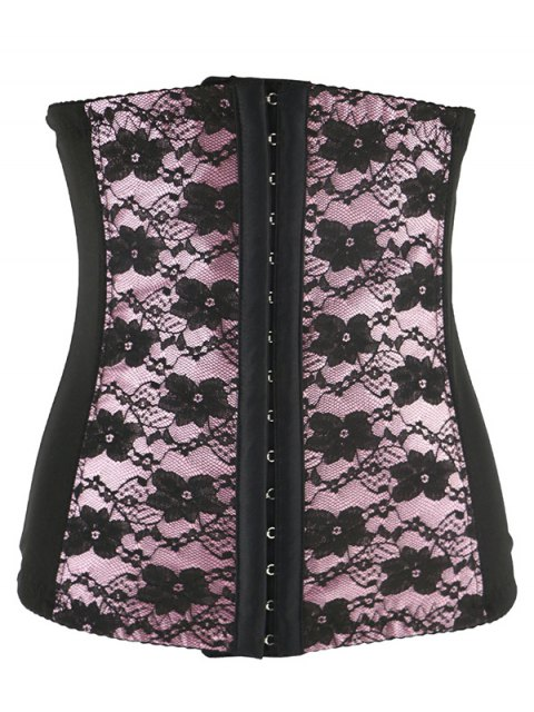 shops Retro Steal Boned Underbust Lace Corset - SHALLOW PINK 4XL Mobile