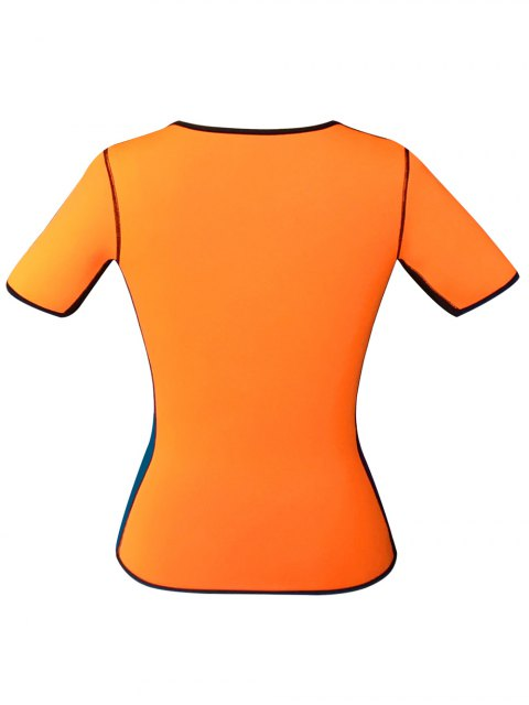 shops Zippered Double Side Color Block Bustiers - ORANGE 2XL Mobile