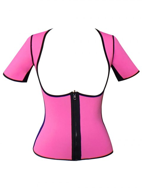 womens Zippered Double Side Color Block Bustiers - PINK 2XL Mobile