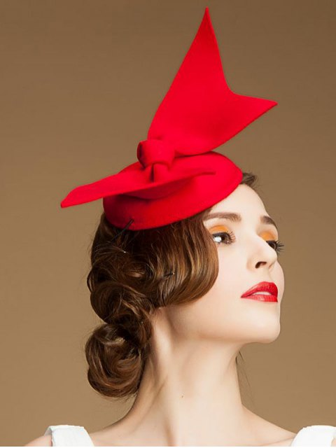 chic Butterfly Knot Cocktail Hat - RED  Mobile