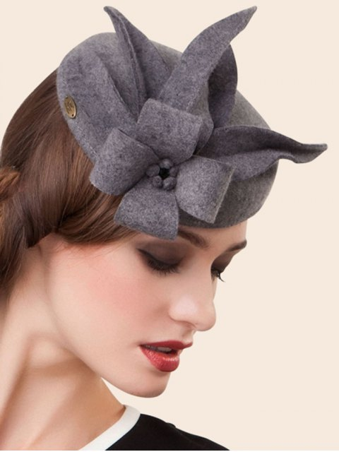 unique Wool Flower Cocktail Hat - GRAY  Mobile