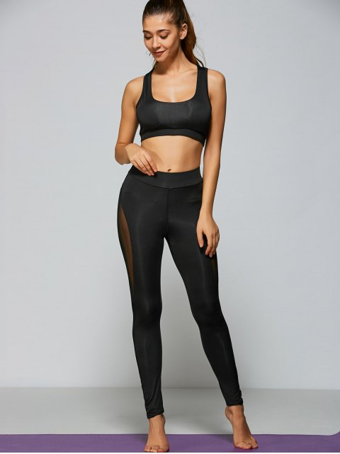 online Mesh Panel Tight Fit Sports Bra and Pants - BLACK S Mobile