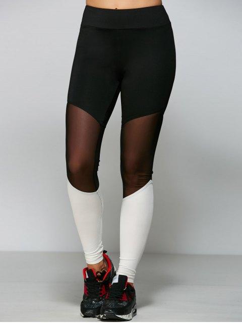 sale Mesh Panel Tight Fit Leggings - WHITE XL Mobile