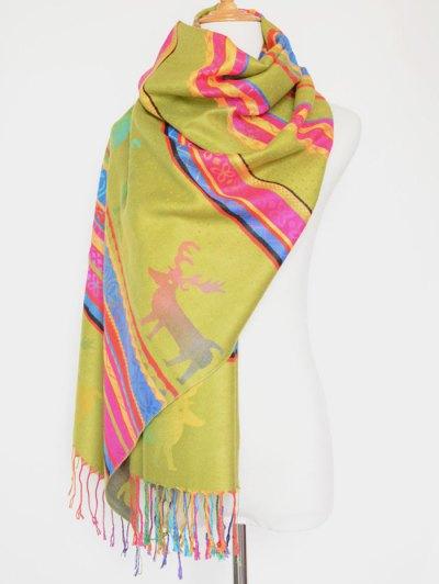 Christmas Deer Pattern Colorful Tassel Scarf - GINGER  Mobile