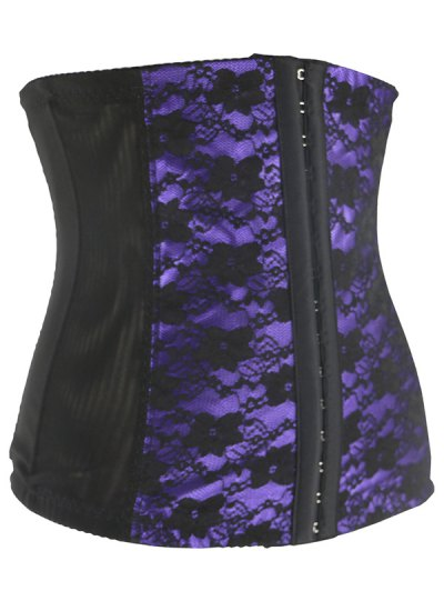 Retro Steal Boned Underbust Lace Corset - PURPLE 4XL Mobile