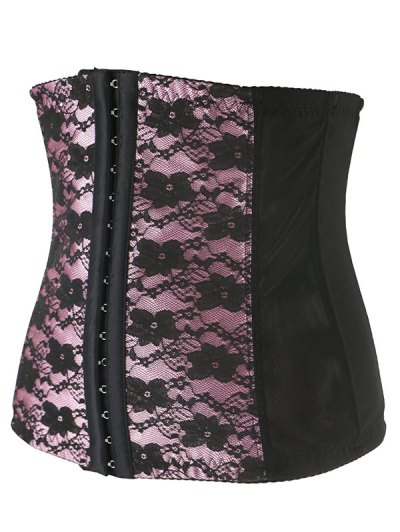 Retro Steal Boned Underbust Lace Corset - SHALLOW PINK 4XL Mobile