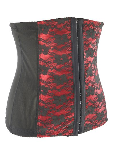 Retro Steal Boned Underbust Lace Corset - RED 4XL Mobile