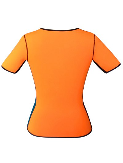 Zippered Double Side Color Block Bustiers - ORANGE 5XL Mobile