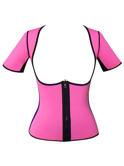 Zippered Double Side Color Block Bustiers - PINK L Mobile