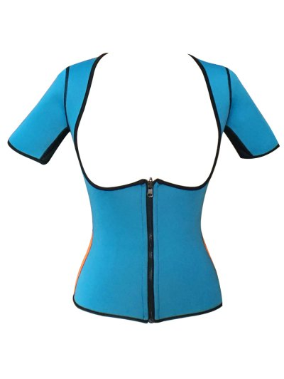 Zippered Double Side Color Block Bustiers - BLUE 2XL Mobile